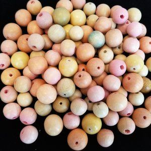 Last One! 50 Natural wood BEADS pink 12-16mm NEW